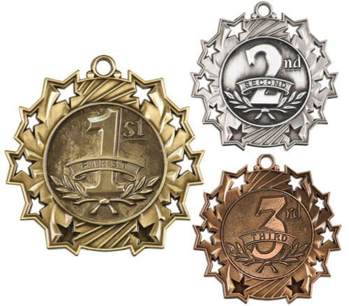 1st, 2nd, 3rd Place Ten Star Medal | Engraved 10 Star Place Medallion | 2.25 Inch Wide