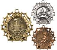 1st, 2nd & 3rd Place Ten Star Medal | Engraved 10 Star Place Medallion | 2.25 Inch Wide