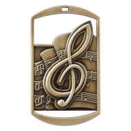 "Music Dog Tag Medal - Gold, Silver & Bronze | Engraved Band Medal | 1.5"" x 2.75"""