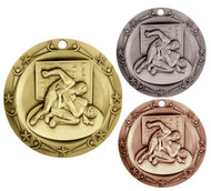 Wrestling World Class Medal - Gold, Silver or Bronze | Engraved Wrestler Medallion | 3 Inch Wide
