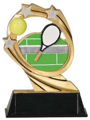 Tennis Cosmic Resin Trophy | Tennis Court Award | 6 Inch - Clearance