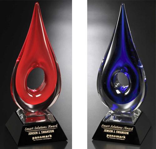 "Art Glass Trophy - Teardrop | Artistic Corporate Award - 14"""