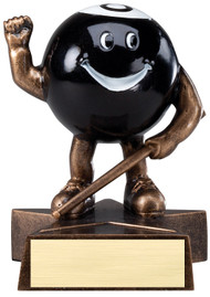 8 Ball / Billiards Lil' Buddy Trophy  | Engraved Smiling 8 Ball Award - 4 Inch Tall