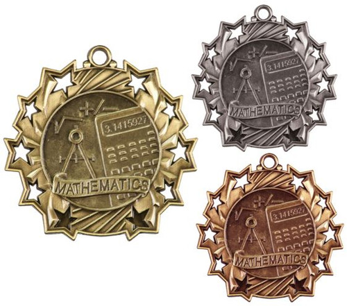 Math Ten Star Medal - Gold, Silver or Bronze | Mathematics 10 Star Medallion | 2.25 Inch Wide