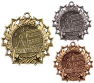 Math Ten Star Medal - Gold, Silver & Bronze   Mathematics 10 Star Award   2.25 Inch Wide