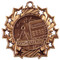 Math Ten Star Medal - Gold, Silver or Bronze | Mathematics 10 Star Medallion | 2.25 Inch Wide Math Ten Star Medal - Bronze