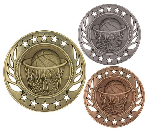 Basketball Galaxy Medal - Gold, Silver & Bronze | Engraved Hoops Medallion | 2.25 Inch Wide