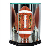 Upright Football Glass Display Case - Black Trim