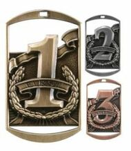 "1st, 2nd, 3rd Dog Tag Medals - Gold, Silver & Bronze | Engraved Place Medal | 1.5"" x 2.75"""