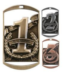 """1st, 2nd, 3rd Dog Tag Medals - Gold, Silver & Bronze 