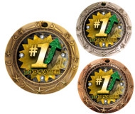 Top Sales World Class Medal - Gold, Silver & Bronze   Engraved Sales Medallion   3 Inch Wide