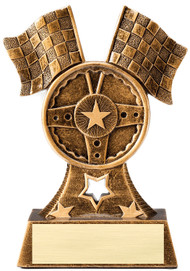 Racing Flags & Wheel Trophy | Engraved Racing Award - 6.75 Inch Tall