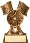 Racing Flags & Wheel Trophy | Engraved Racing Award - 6.75 Inch Tall