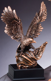 Eagle with American Flag Bronze Award | Engraved Bronzed Eagle Trophy - 10, 14 and 19 Inch Tall