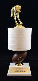Fantasy Football Toilet Paper Trophy | FFL Loser Award | 12 - 14.5 Inch Tall - Horse's Rear and  Football Stem Stem