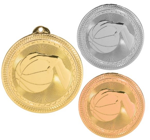Basketball BriteLazer Medal - Gold, Silver & Bronze | Engraved Hoops Medallion | 2 Inch Wide