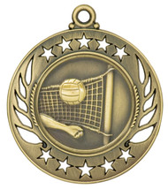 Volleyball Galaxy Medal - Gold | Engraved Spike & Dig Medallion | 2.25 Inch Wide - CLEARANCE Volleyball Galaxy Medal - Gold