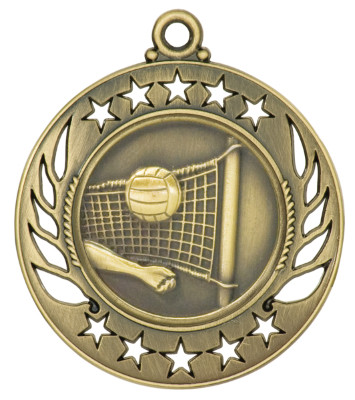 Volleyball Galaxy Medal - Gold   Engraved Spike & Dig Medallion   2.25 Inch Wide - CLEARANCE Volleyball Galaxy Medal - Gold