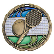 Tennis Color Epoxy Medal - Gold, Silver or Bronze | Engraved Racket Medallion | 2.5 Inch Wide Tennis Color Epoxy Medal - Gold