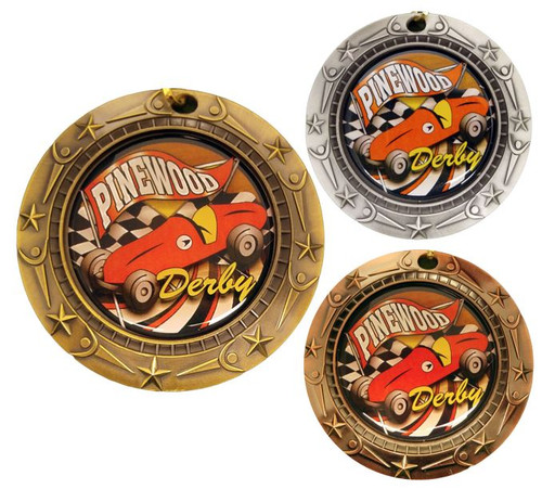 Pinewood Derby World Class Medal - Gold, Silver or Bronze | Engraved Boy Scout Race Medallion | 3 Inch Wide