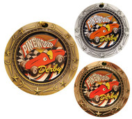 Pinewood Derby World Class Medal - Gold, Silver & Bronze | Engraved Boy Scout Race Medallion | 3 Inch Wide