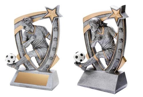 Soccer 3-D Star Resin Trophy - Male / Female   Engraved Fútbol Award - 6 Inch Tall