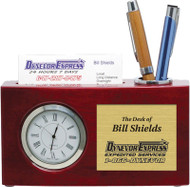 Elgin Rosewood Piano Finish Desk Clock with Business Card Holder | Desk Clock with Engraved Plate