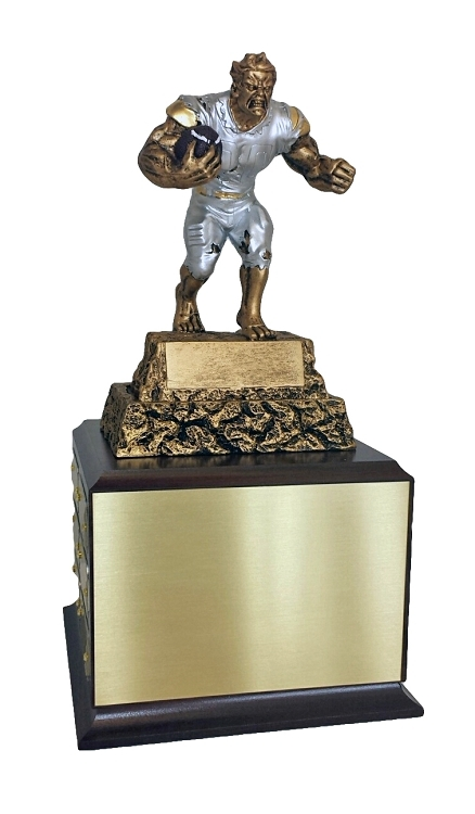 Fantasy Football Monster Perpetual Trophy   FFL Beast Award   13 Inch Tall  - Cherry Base