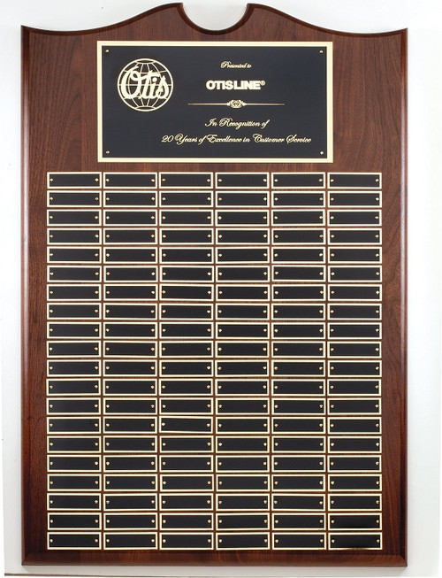 Perpetual Plaque - Genuine Walnut with 120 Black Brass Plates