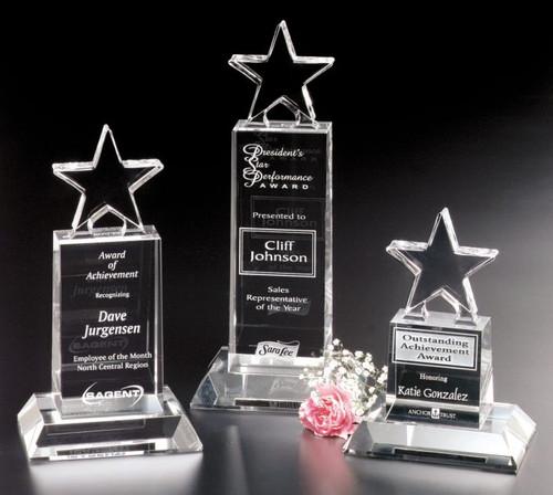 "Star Champion Pedestal Crystal Trophy | Star Corporate Award - 6"", 8.5"" & 10.5"""