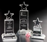 "Star Champion Pedestal Crystal Trophy | Star Corporate Award - 6"", 8.5"" & 10.5"""