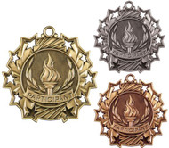 Participant Ten Star Medal - Gold, Silver or Bronze | Contribution 10 Star Medallion | 2.25 Inch Wide
