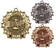 Music Ten Star Medal - Gold, Silver & Bronze | Performer 10 Star Award | 2.25 Inch Wide