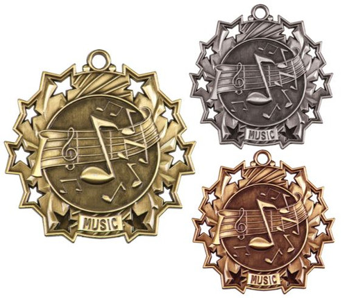 Music Ten Star Medal - Gold, Silver or Bronze | Performer 10 Star Medallion | 2.25 Inch Wide