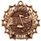 Music Ten Star Medal - Gold, Silver or Bronze | Performer 10 Star Medallion | 2.25 Inch Wide Music Ten Star Medal - Bronze