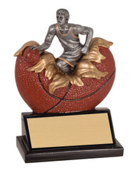 Basketball Xploding Action Trophy | Engraved Basketball Award - 5.25 Inch Tall