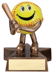 Softball Lil' Buddy Trophy | Engraved Smiling Softball Award - 4 Inch Tall