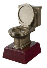 Gold Toilet Bowl Trophy | Engraved Golden Throne Last Place Award - 6 Inch Tall