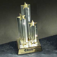 Star Tower Acrylic Trophy | Triple Star Award - 11""