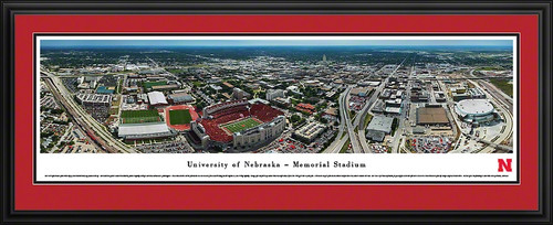 University Of Nebraska Panoramic Print Ncaa Framed Prints Memorial Stadium