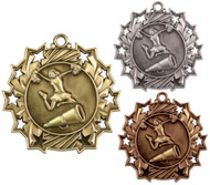 Cheerleading Ten Star Medal - Gold, Silver or Bronze | Spirit 10 Star Medallion | 2.25 Inch Wide