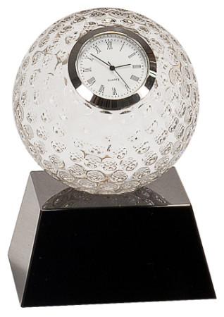 Golf Ball Crystal Clock Award | Golfer Crystal Clock Presentation Gift / Trophy | 5 Inch Tall