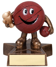 Basketball Lil' Buddy Trophy | Engraved Smiling Basketball Award - 4 Inch Tall
