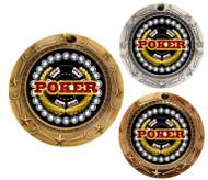 Poker World Class Medal - Gold, Silver & Bronze   Texas Hold 'em Award   3 Inch Wide