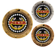 Poker World Class Medal - Gold, Silver & Bronze | Engraved Texas Hold 'em Medallion | 3 Inch Wide