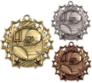 Football Ten Star Medal - Gold, Silver or Bronze | Gridiron 10 Star Medallion | 2.25 Inch Wide