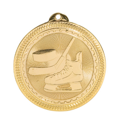 Hockey BriteLazer Medal - Gold, Silver & Bronze | Engraved Ice Hockey Medallion | 2 Inch Wide Hockey BriteLazer Medal - Gold
