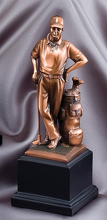 Bronze golfer standing next to his golf bag