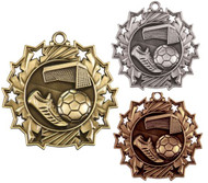 Soccer Ten Star Medal - Gold, Silver or Bronze | Futbol 10 Star Medallion | 2.25 Inch Wide