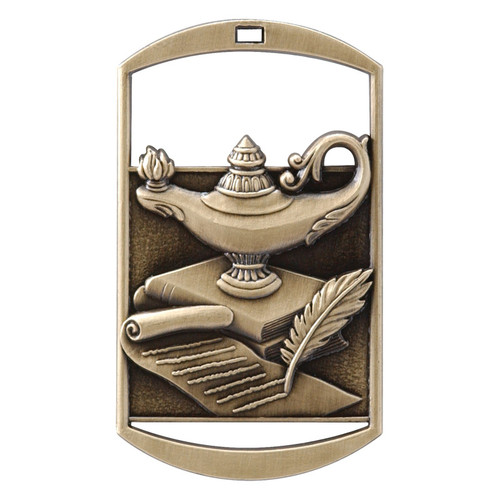 """Lamp of Knowledge Dog Tag Medal - Gold, Silver & Bronze   Engraved Academic Medal   1.5"""" x 2.75"""""""